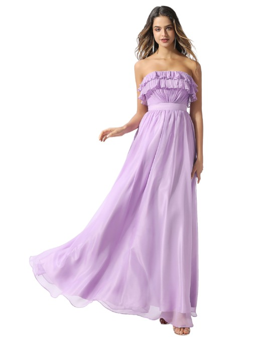 Strapless A-Line Ruched Lilac Prom Dress 2020