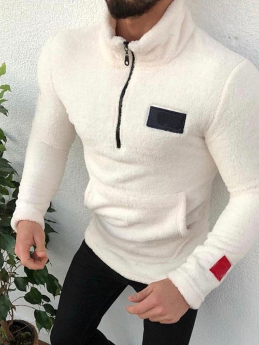 Color Block Pullover Thick Zipper Casual Men's Hoodies