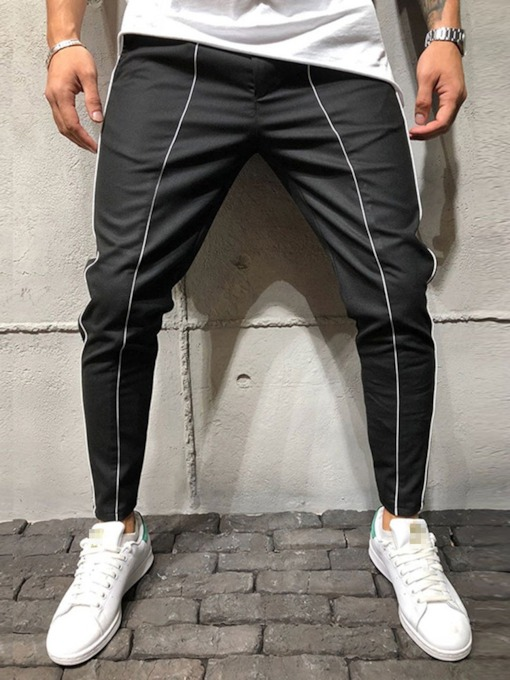 Pocketed Color Block Style Men's Casual Pants