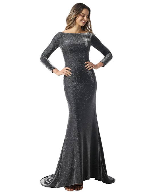 Bateau Neck Mermaid Long Sleeves Evening Dress 2020