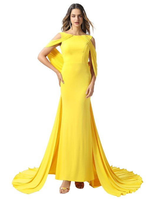 Draped Watteau Train Backless Evening Dress 2020