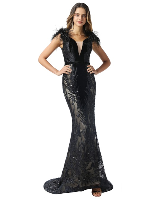 Appliques Sequins Mermaid Black Evening Dress 2020