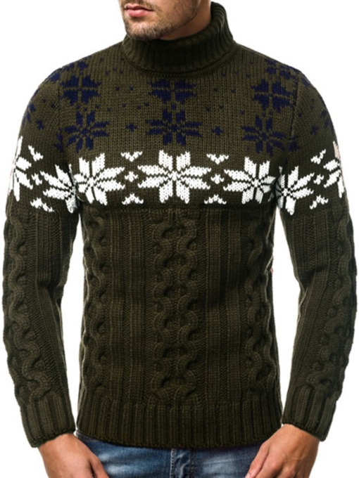 Stand Collar Color Block Style Men's Sweater