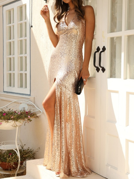 Floor-Length Sequins Sleeveless V-Neck Halter Women's Dress