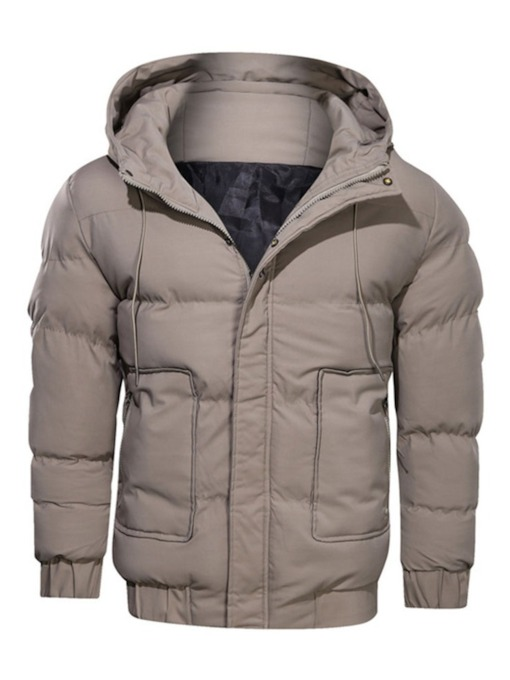 Standard Zipper Plain Color Hooded Casual Men's Down Jacket