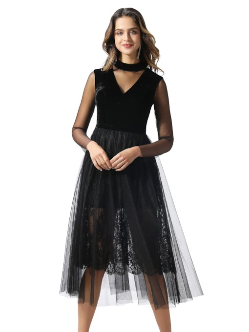 Tea-Length Lace Long Sleeves Black Cocktail Dress 2020