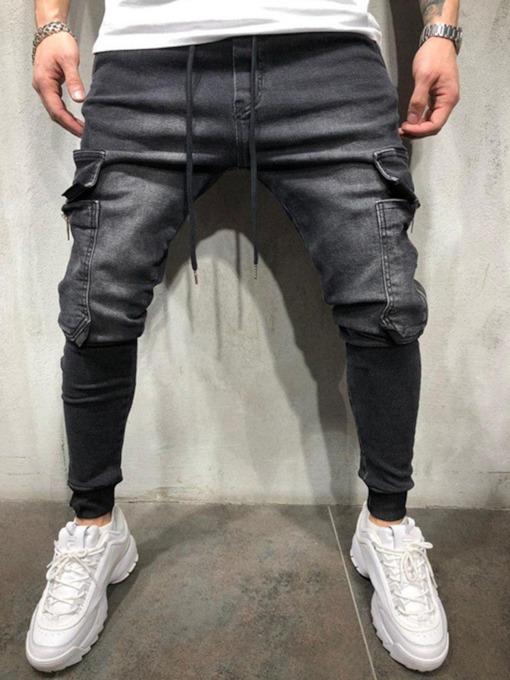 Color Block Worn Casual Style Men's Jeans