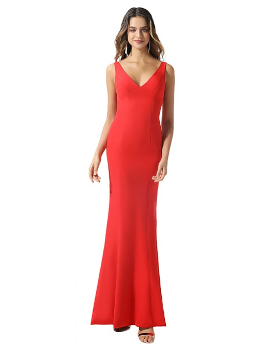 Straps Sheath Button Red Bridesmaid Dress 2020