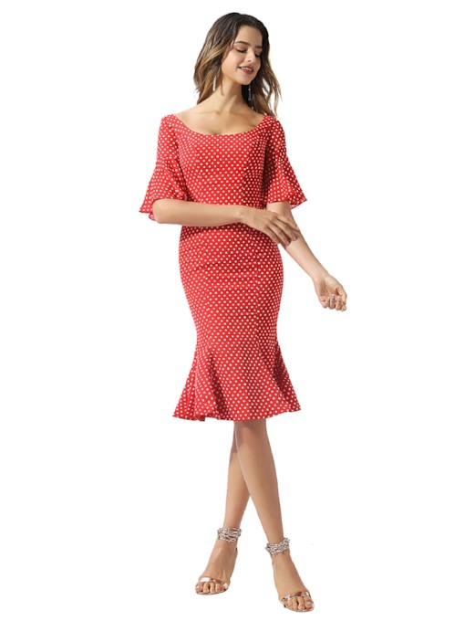 Ruffles Dots Short Sleeves Knee-Length Cocktail Dress 2020