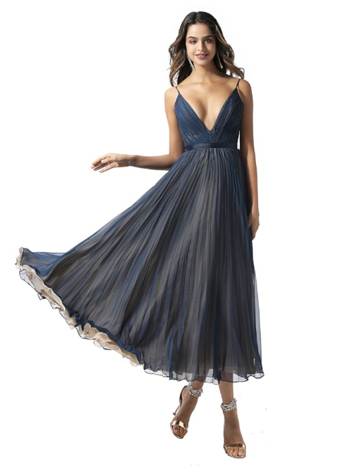 Spaghetti Straps Pleats Tea-Length Prom Dress 2020