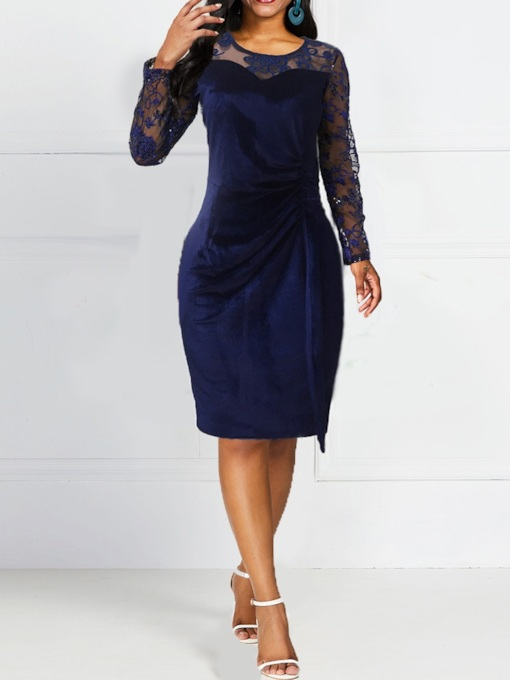 Mid-Calf Long Sleeve Patchwork Round Neck Pullover Women's Dress
