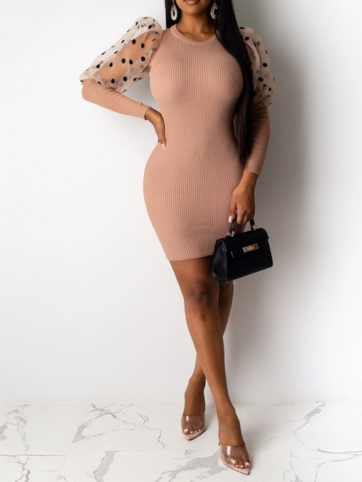 Round Neck Long Sleeve Mesh Above Knee Casual Women's Dress