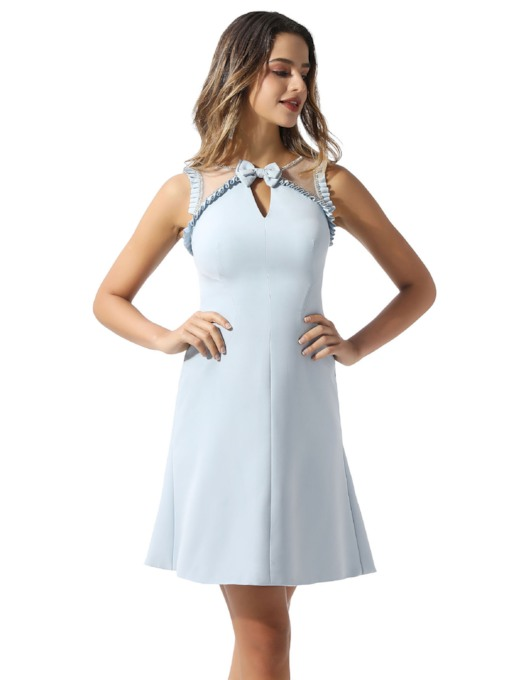 Beading Straps Bowknot Mini Cocktail Dress 2020