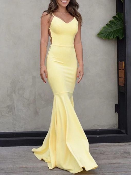 Mermaid Spaghetti Straps Backless Evening Dress 2020