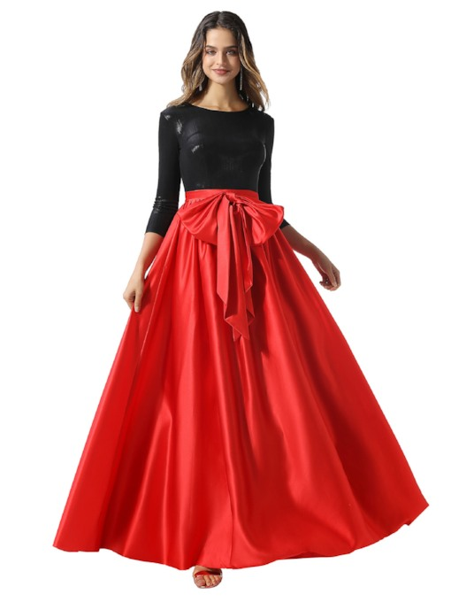 3/4 Length Sleeves Bowknot Evening Dress 2020