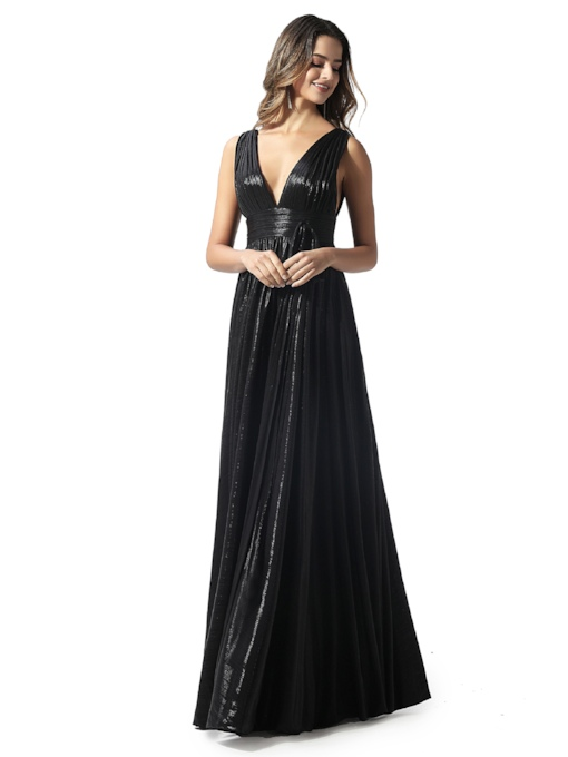 V-Neck Pleats A-Line Black Evening Dress 2020