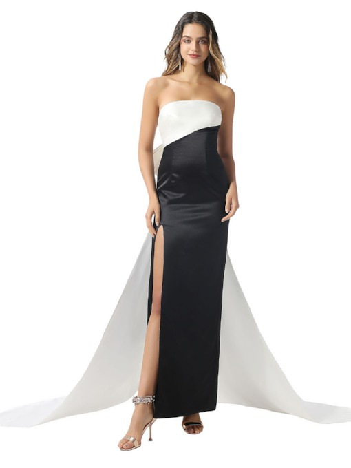 Watteau Train Strapless Bowknot Column Evening Dress 2020