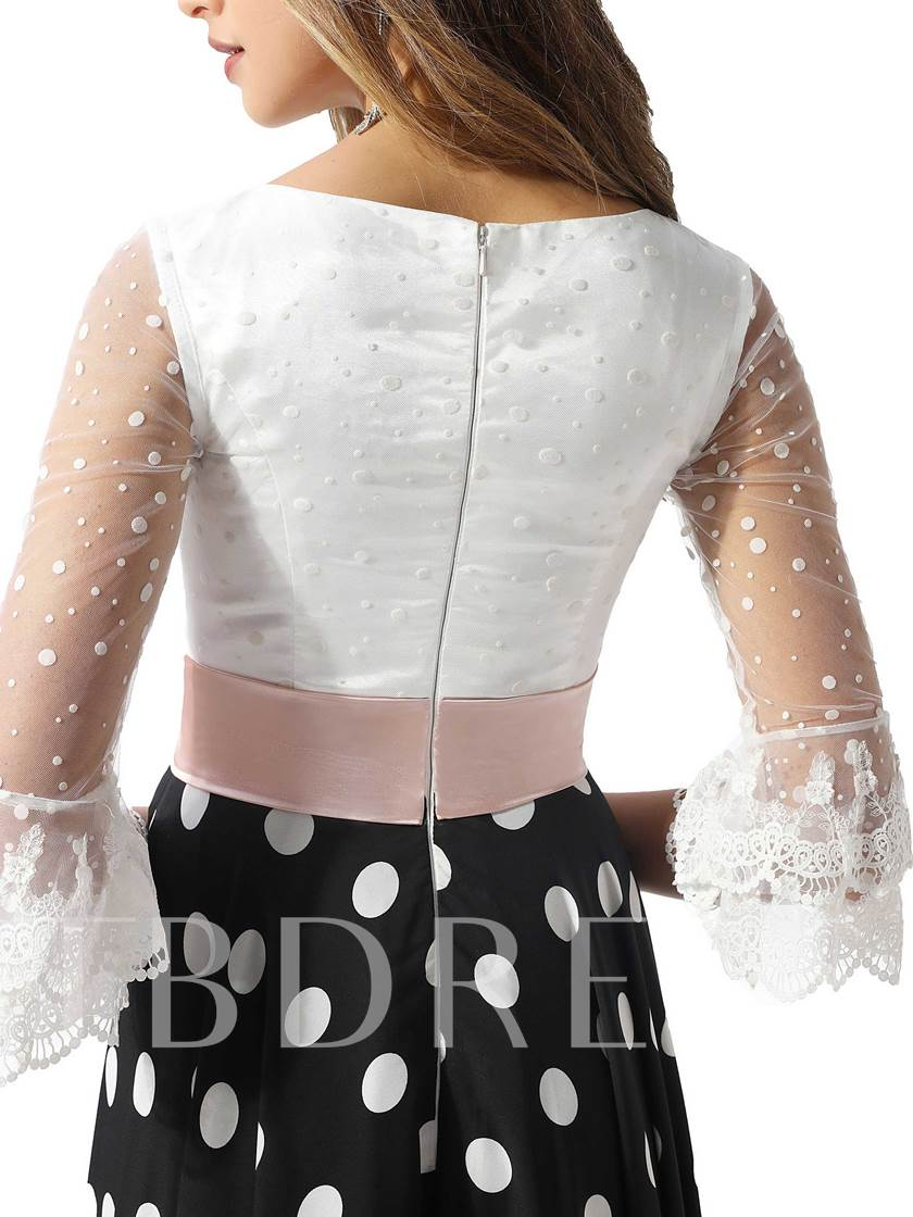 Lace Half Sleeves Dots Prom Dress 2020