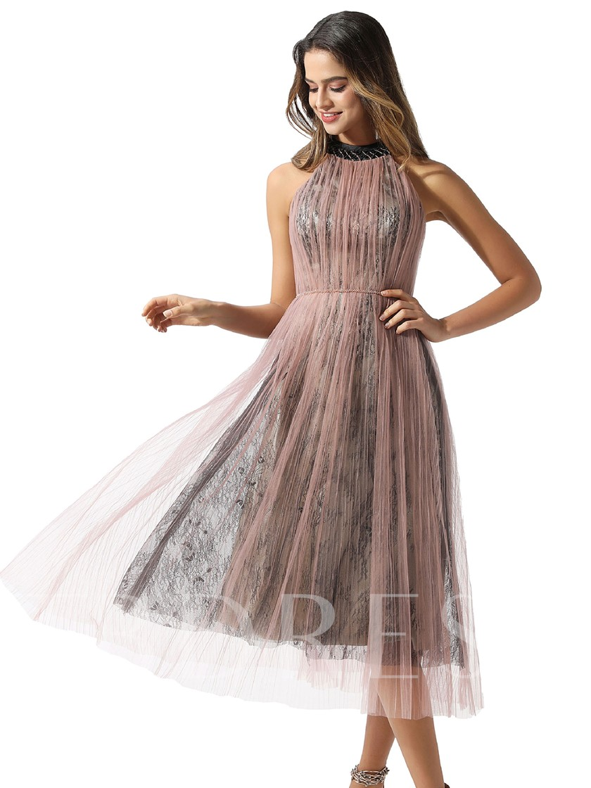 Beading Halter Tea-Length Lace Homecoming Dress 2020