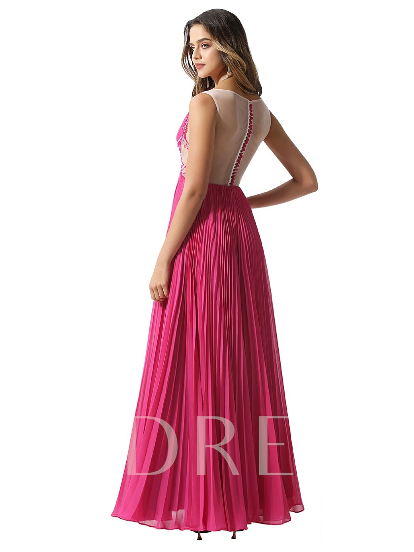 Bateau Neck Beading Pleats Prom Dress 2020