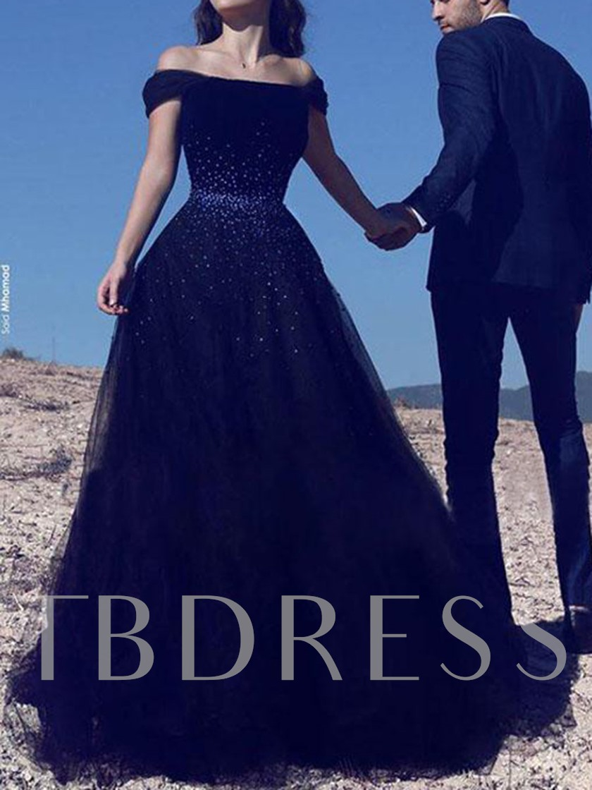 Off-The-Shoulder Beading Black Evening Dress 2020