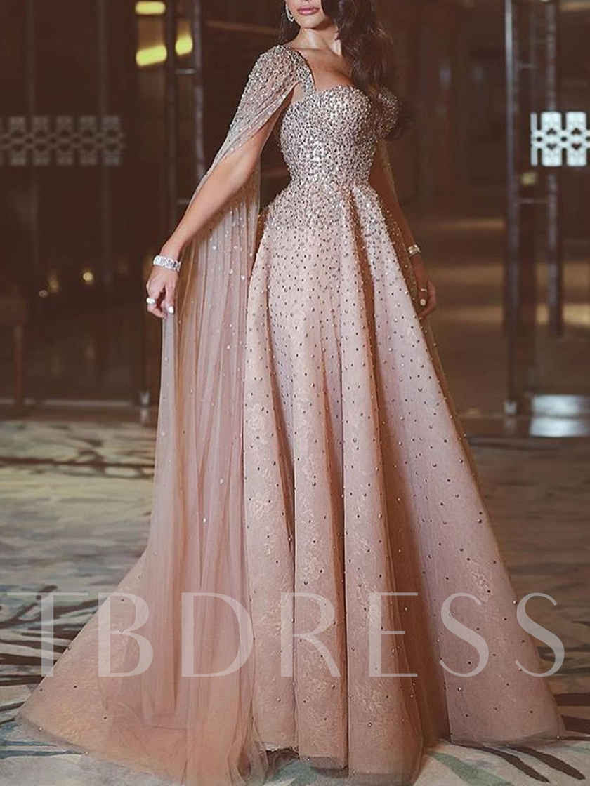 Sweetheart Sleeves Beading Lace Evening Dress 2020
