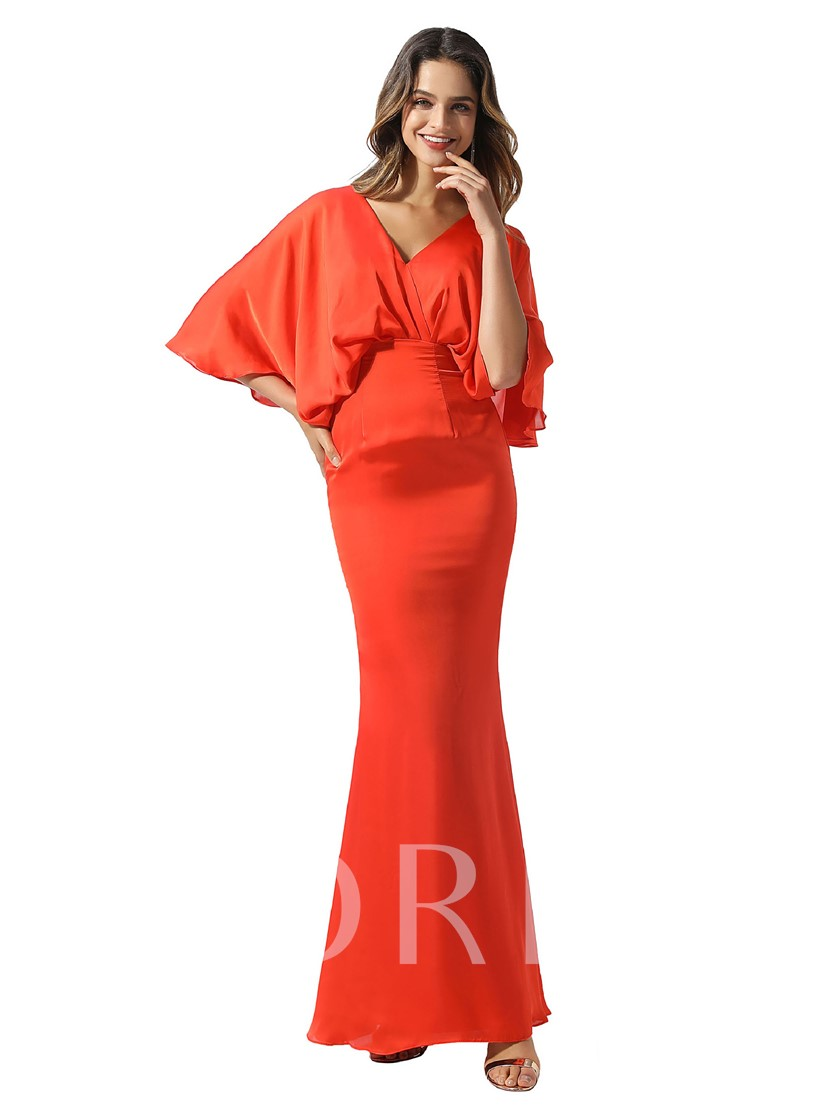 V-Neck Sheath Low Back Batwing Sleeves Evening Dress 2020