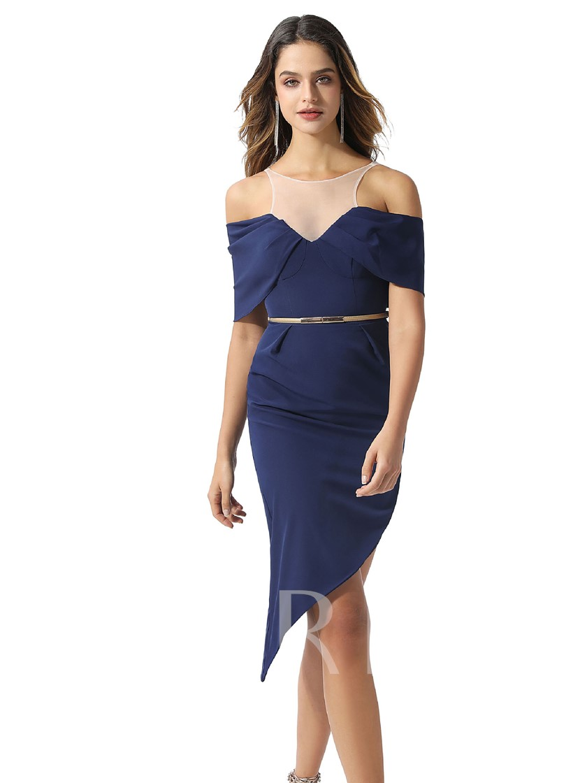 Asymmetry Open Shoulder Button Sheath Cocktail Dress 2020
