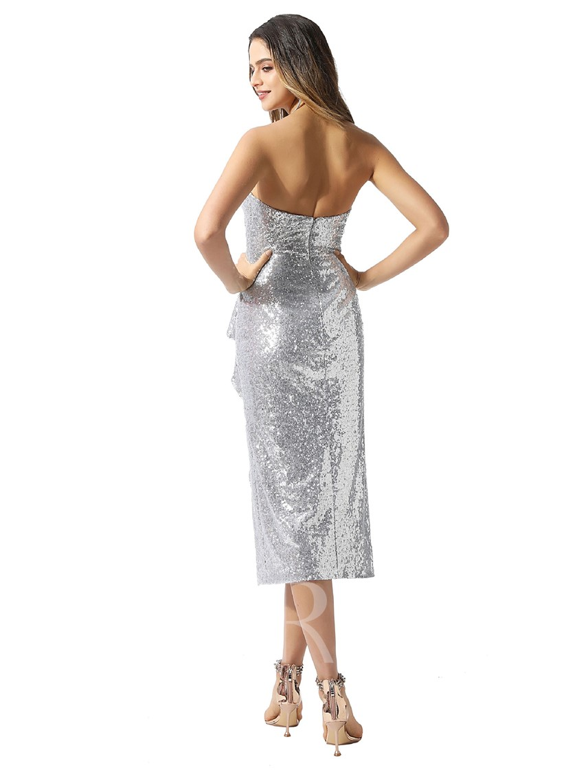 Strapless Sheath Tea-Length Sequins Cocktail Dress 2020