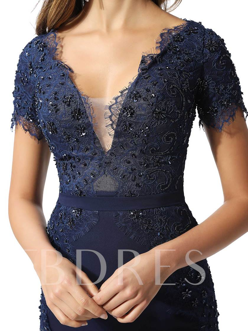 Short Sleeves Lace Sequins Evening Dress 2020