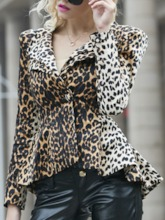Regular Leopard Print Long Sleeve Women's Blouse