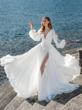 Split-Front Button Long Sleeves Beach Wedding Dress 2020