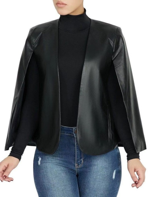 Loose Faux Leather Standard Women's PU Jacket