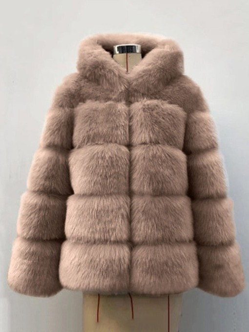 Mid-Length Plain Hooded Women's Faux Fur Overcoat