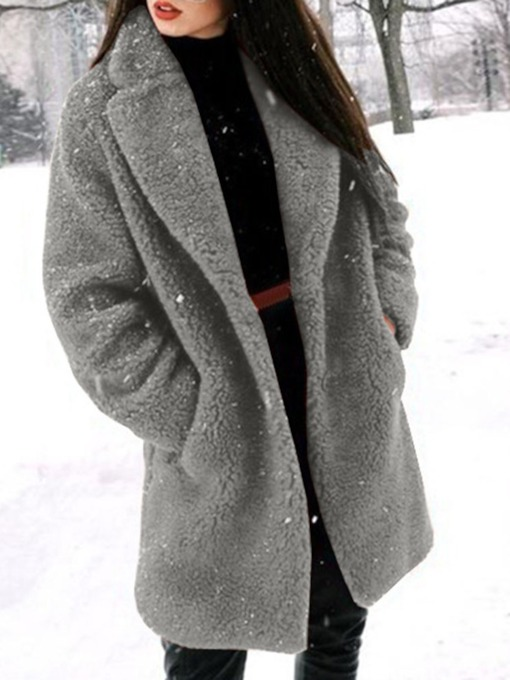 Loose Plain Regular Long Women's Overcoat