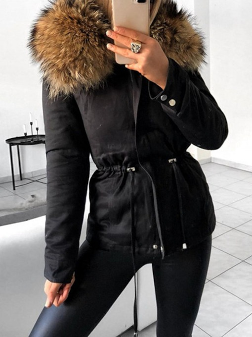 Thick Patchwork Slim Fur Collar Women's Cotton Padded Jacket