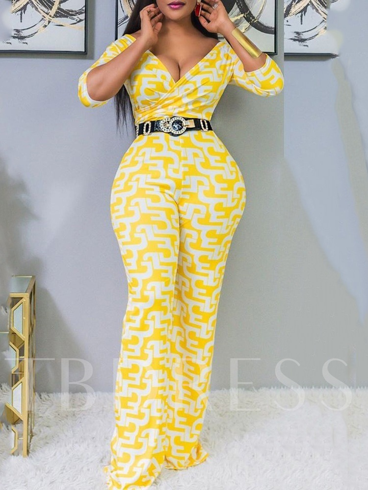 Casual Full Length Bellbottoms Women's Jumpsuit