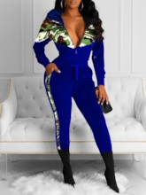 Casual Camouflage Color Block Zipper Women's Two Piece Sets