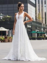 Criss-Cross Straps Appliques Outdoor Wedding Dress 2020