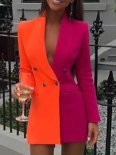 Color Block Double-Breasted Mid-Length Women's Casual Blazer