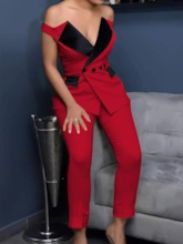 Casual Double-Breasted Sexy Off Shoulder Party Women's Two Piece Sets