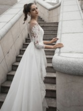 Watteau Train 3/4 Length Sleeves Lace Wedding Dress 2020
