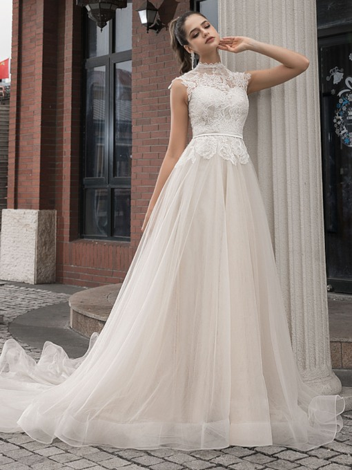 High Neck Belt Lace Outdoor Wedding Dress 2020