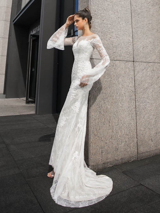 Scoop Neck Appliques Lace Long Sleeves Wedding Dress 2020