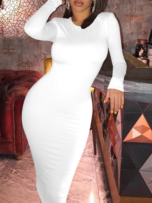 Long Sleeve Mid-Calf Round Neck Pullover Women's Dress
