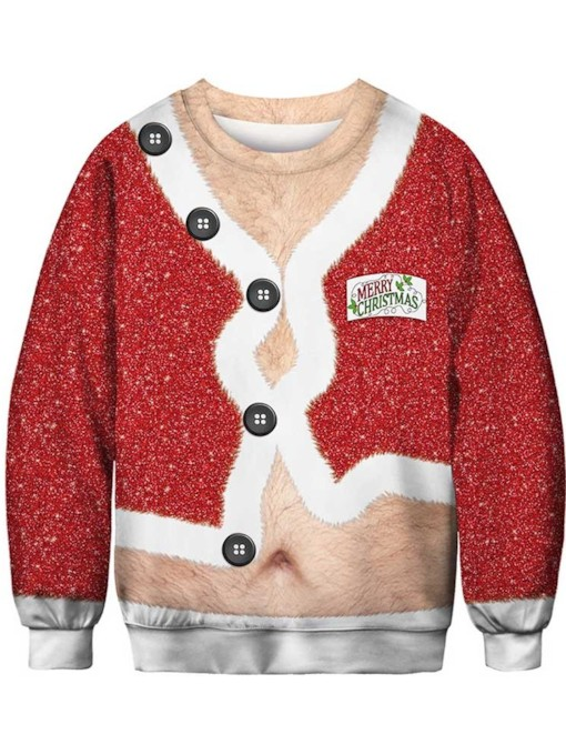 Ugly Christmas Sweaters 2019 Color Block Casual Men's Hoodies