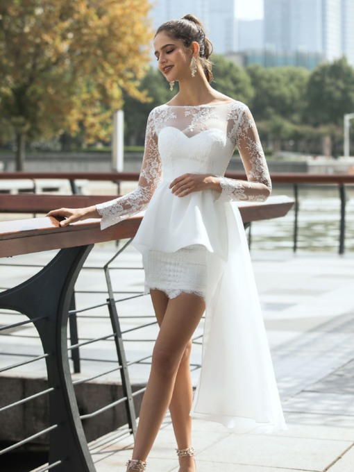 Lace Long Sleeves Sheath Beach Wedding Dress 2020