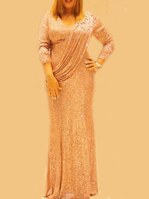 V-Neck Floor-Length Long Sleeve Sequins Pullover Women's Dress