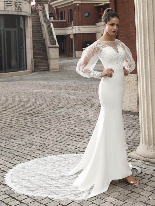 Button Appliques Long Sleeves Mermaid Wedding Dress 2021