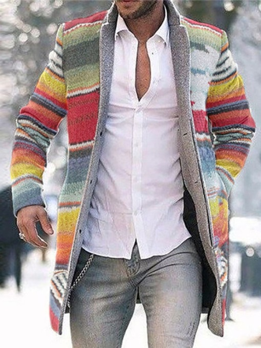 Color Block Button Mid-Length Style Casual Men's Coat